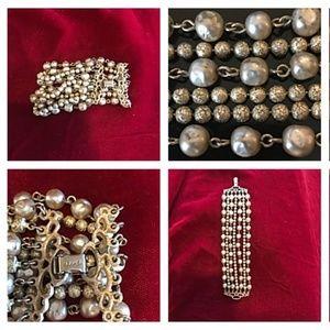 Gold Tone & Metallic Gold Vtg Beaded Bracelet